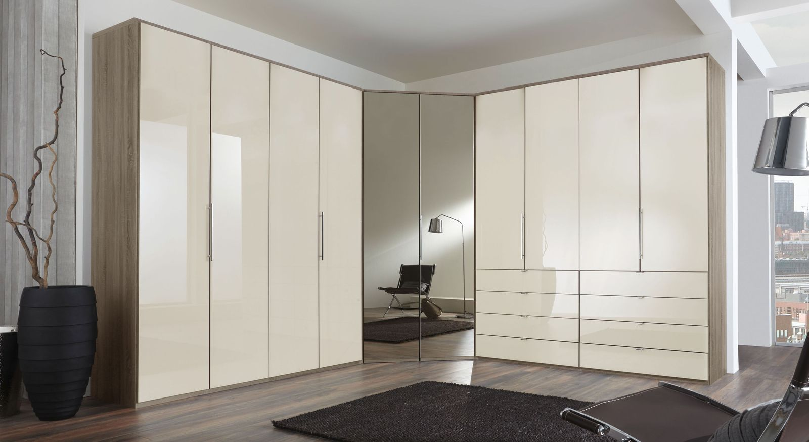 eckkleiderschrank magnolie mit schubladen und spiegel tiko. Black Bedroom Furniture Sets. Home Design Ideas