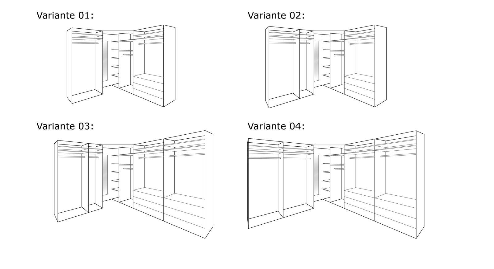 Grafik zur Inneneinteilung des Eck-Kleiderschranks Tiko
