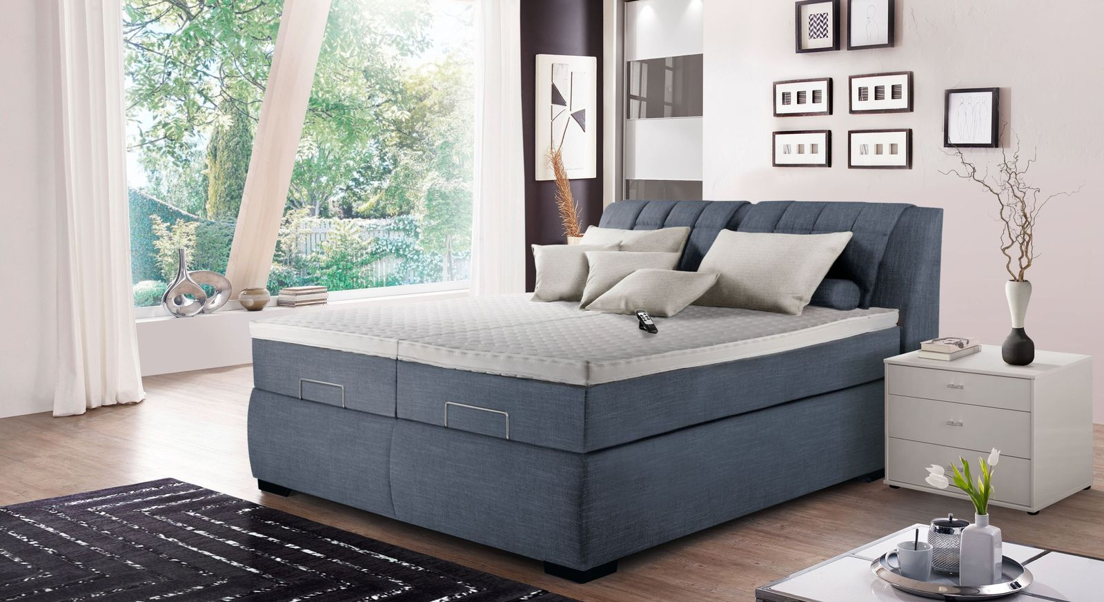 Elektro-Boxspringbett Fibreno mit Topper Alternative