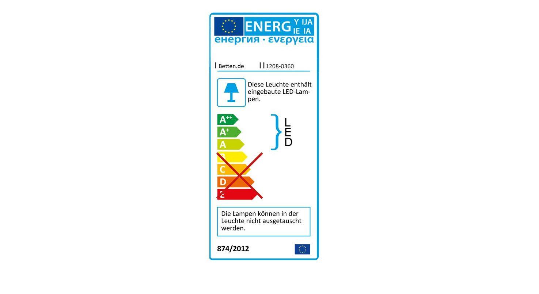 Energieverbrauchs-Kennzeichnung zum Bett Chipperfield