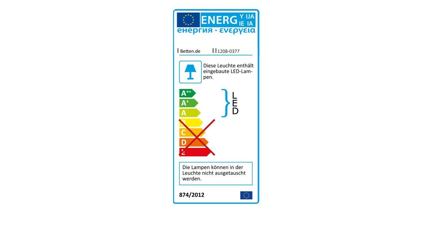 Energieverbrauchskennzeichnung vom Bett Dahlen