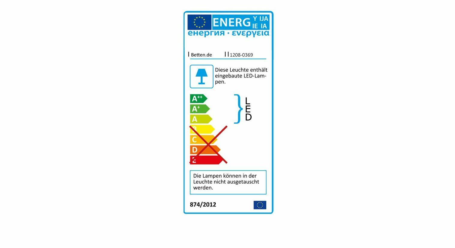 Energieverbauchskennzeichnung vom Bett Naila