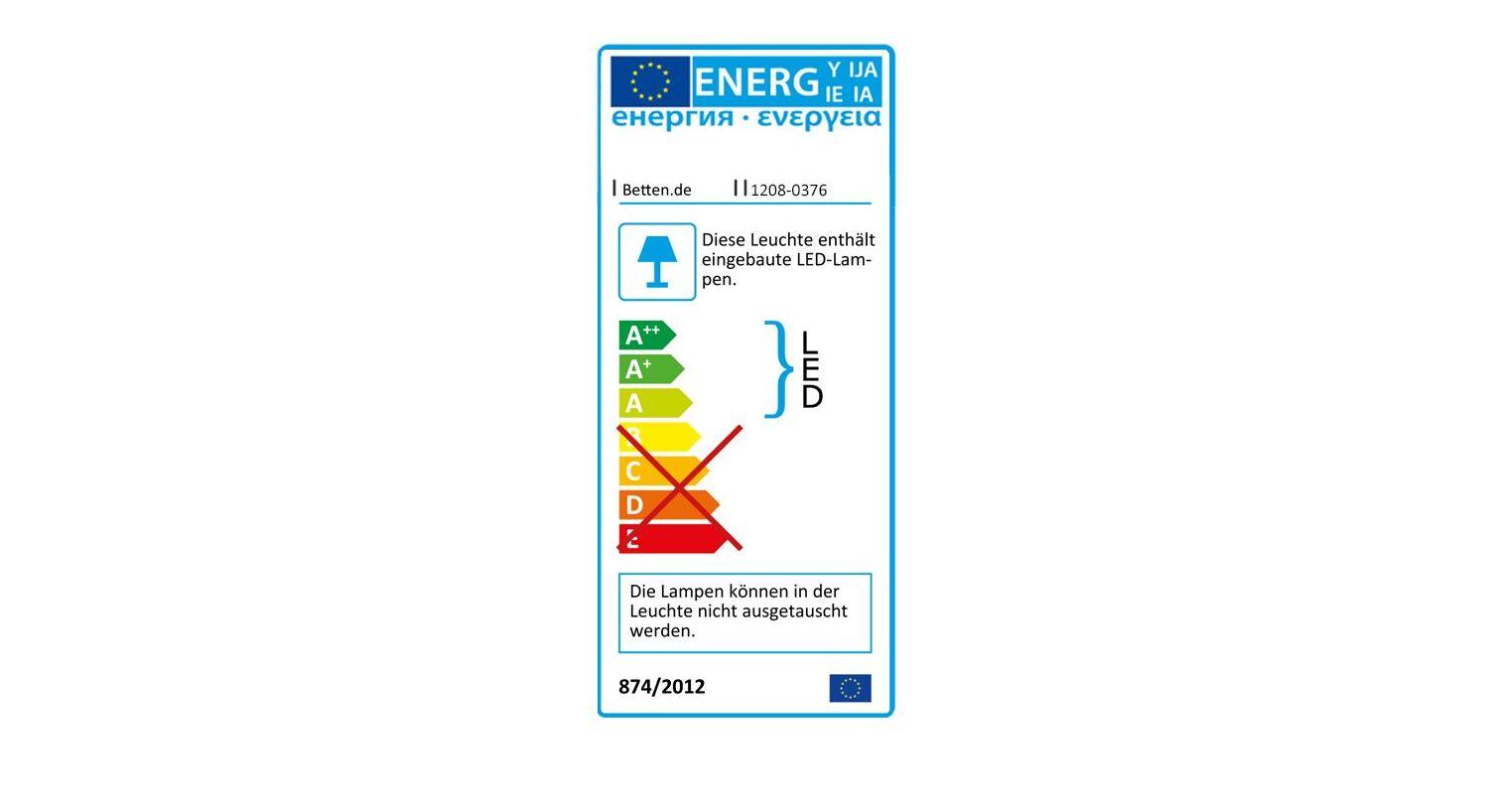 Energieverbrauchskennzeichnung vom Bett Sontra