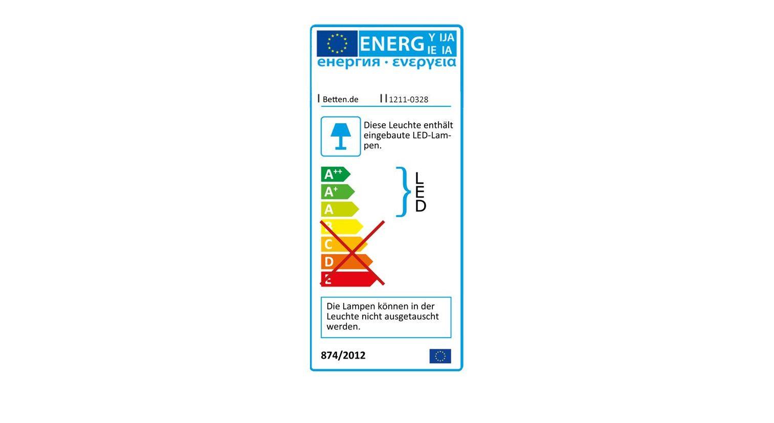 Energieverbrauchskennzeichnung vom Nachttisch Chandler