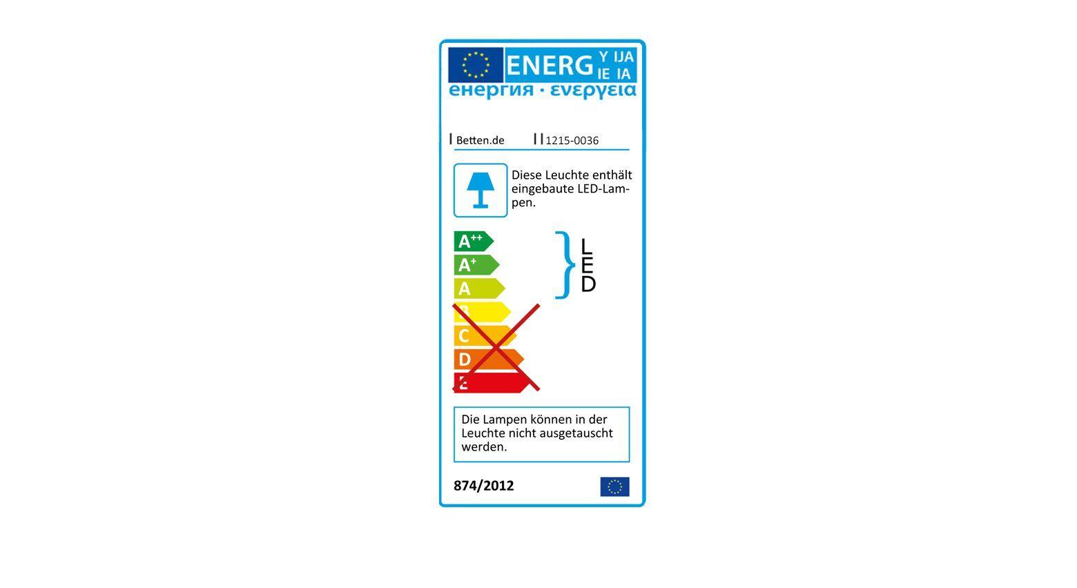 Energieverbauchskennzeichnung vom Schubkasten-Bett Kormoran