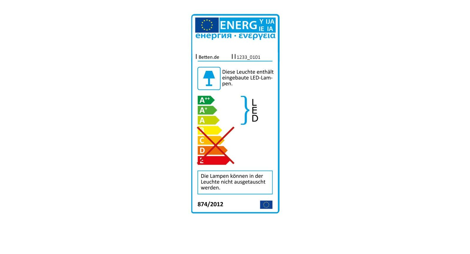 Energieverbrauchskennzeichnung der Leuchten vom Spiegel-Kleiderschrank Troia
