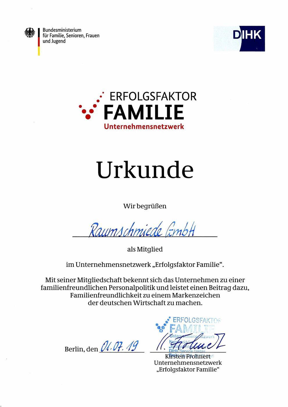 Zertifikat des Erfolgsfaktor Familie