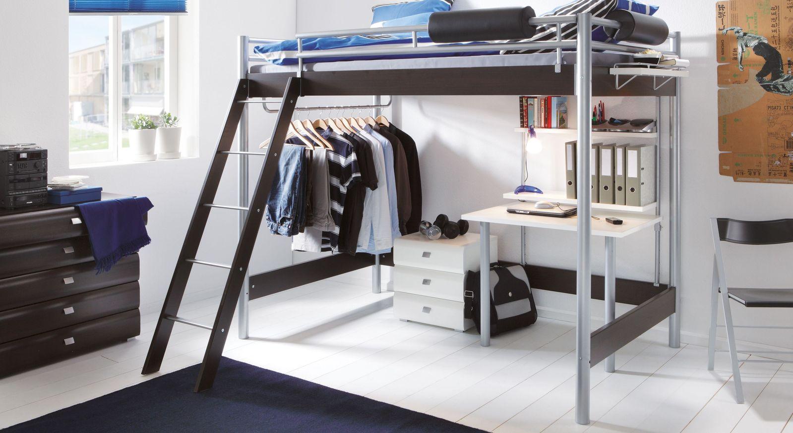 hochbett f r erwachsene mit schreibtisch und kleiderstange finn. Black Bedroom Furniture Sets. Home Design Ideas