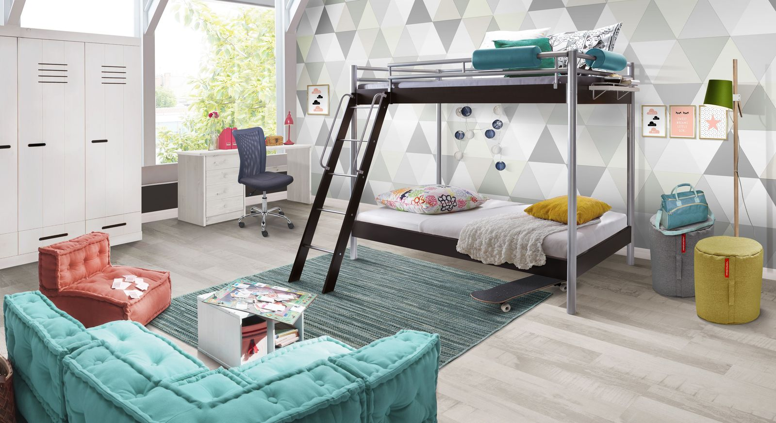 Etagenbetten Kinderzimmer : Jugendzimmer komplett mit modernem metall etagenbett finn