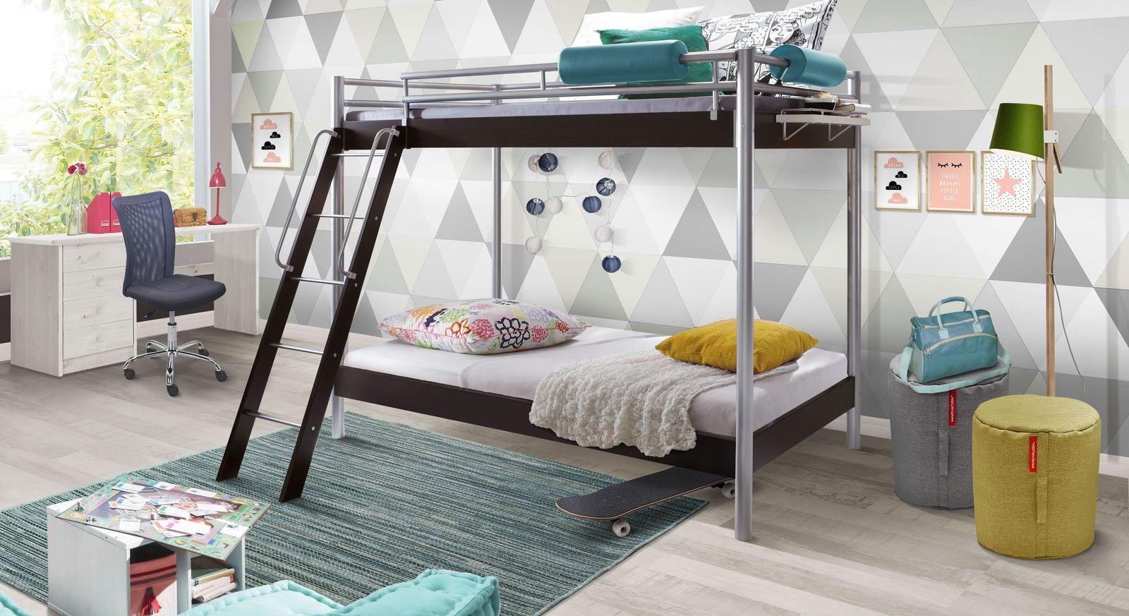 Etagenbett Mit Richtigem Lattenrost : Stabiles etagenbett aus metall mit leiter inklusive finn