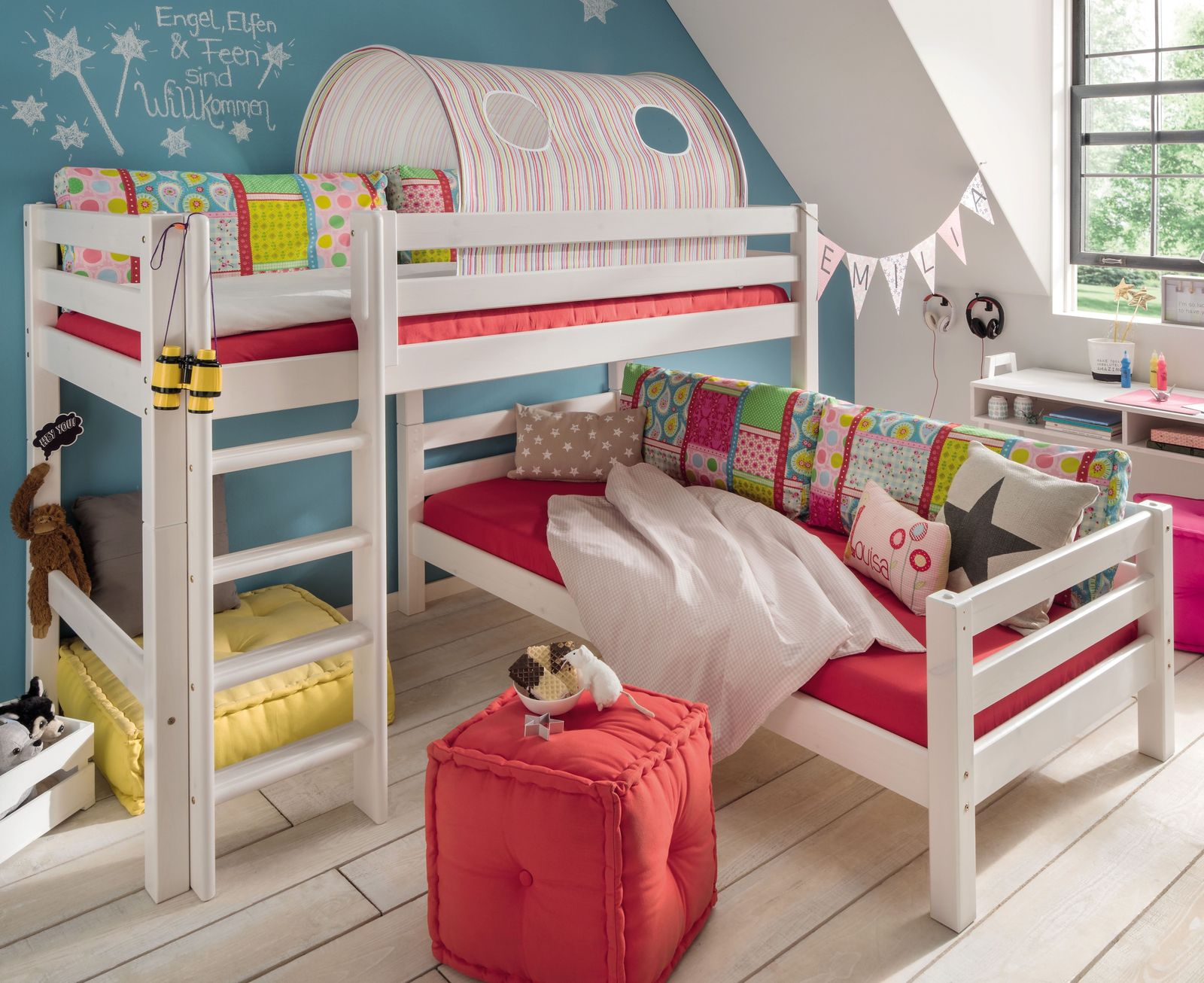 Etagenbett Dachschräge : Etagenbett für dachschrägen aus massiver kiefer kids paradise