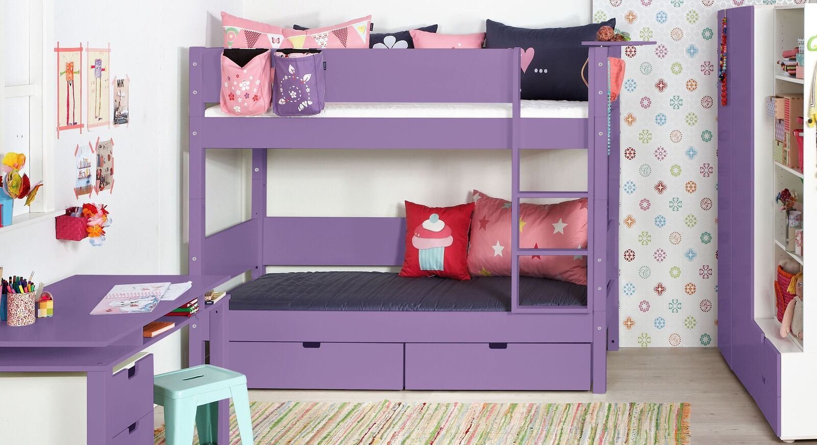 Modernes Etagenbett Kids Town Color in Violett mit Absturzsicherung