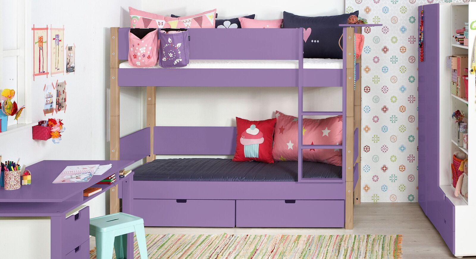 Violettes Etagenbett Kids Town Color mit Absturzsicherung und Buchenpfosten