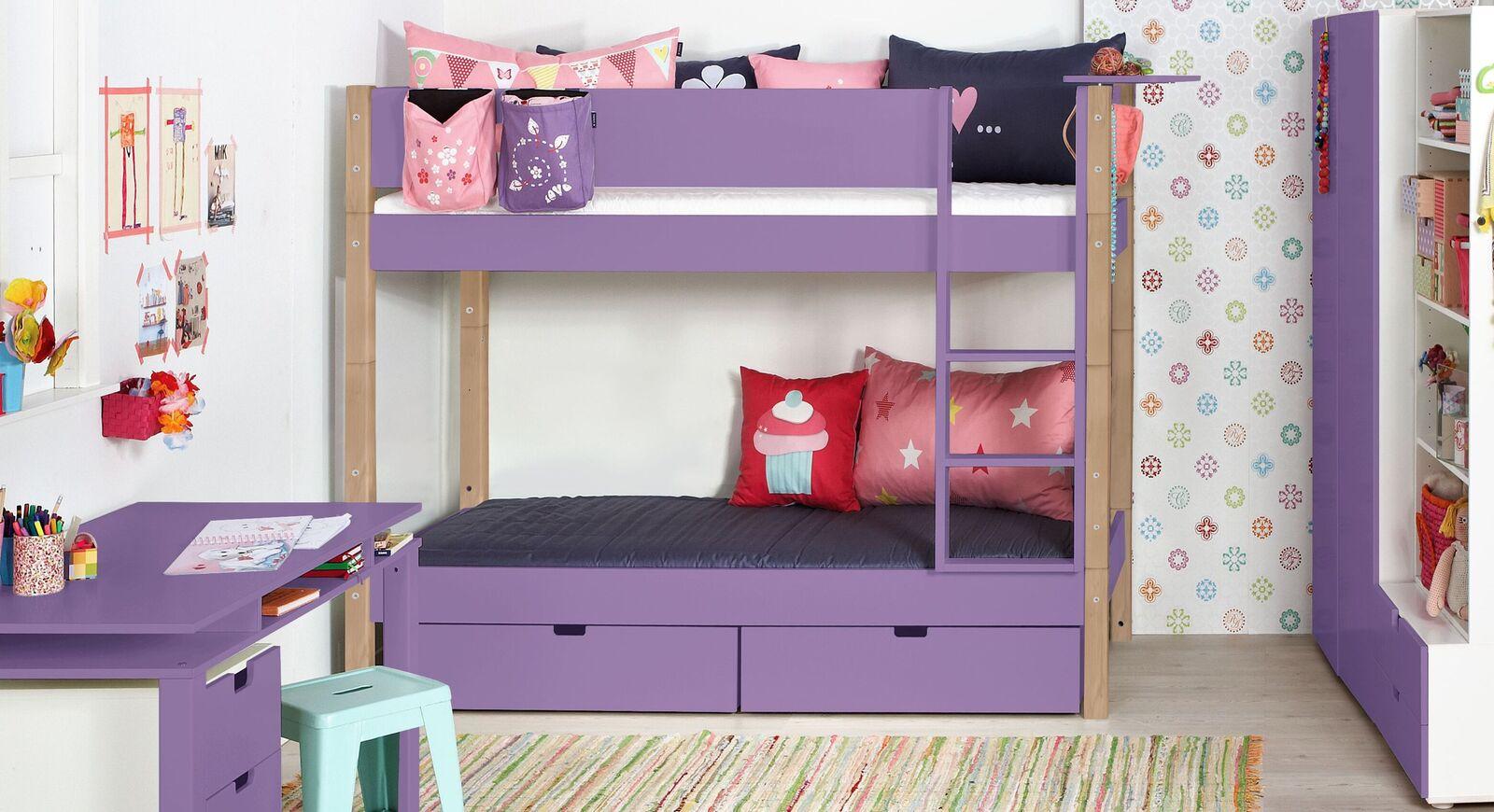 Violettes Etagenbett Kids Town Color mit Buchenpfosten