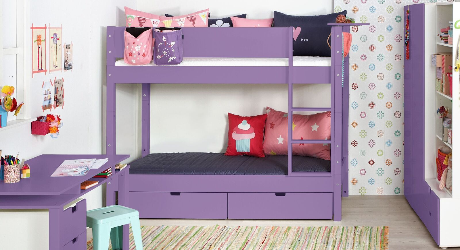 Etagenbett Kids Town Color in Violett uni