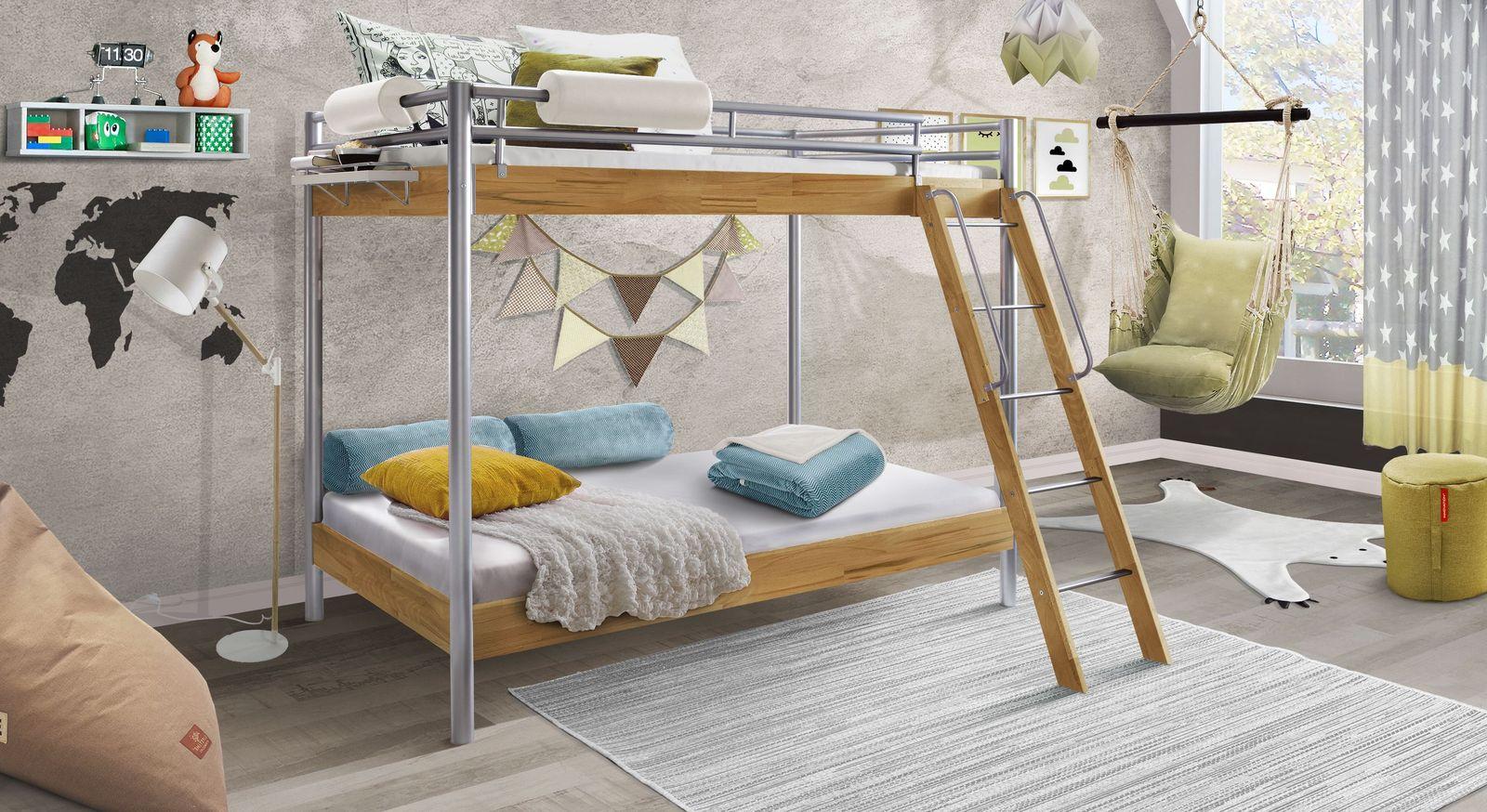 Etagenbett Metall : Stockbett aus metall und kernbuche in zwei breiten steven