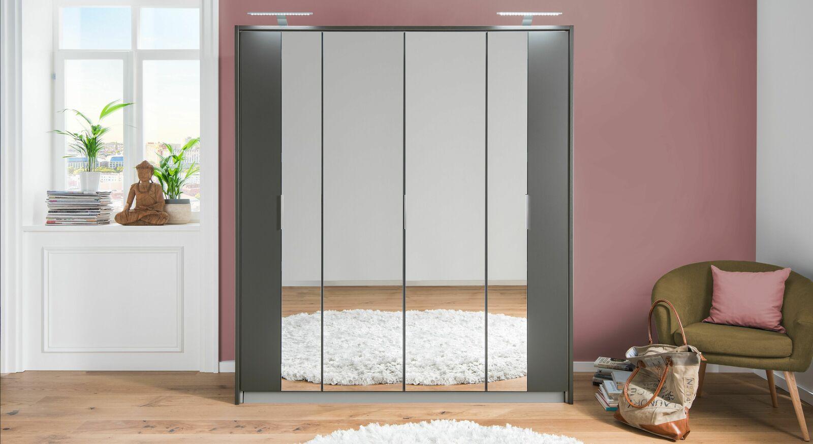 Robuster Falttüren-Kleiderschrank Delaware mit Spiegeltüren