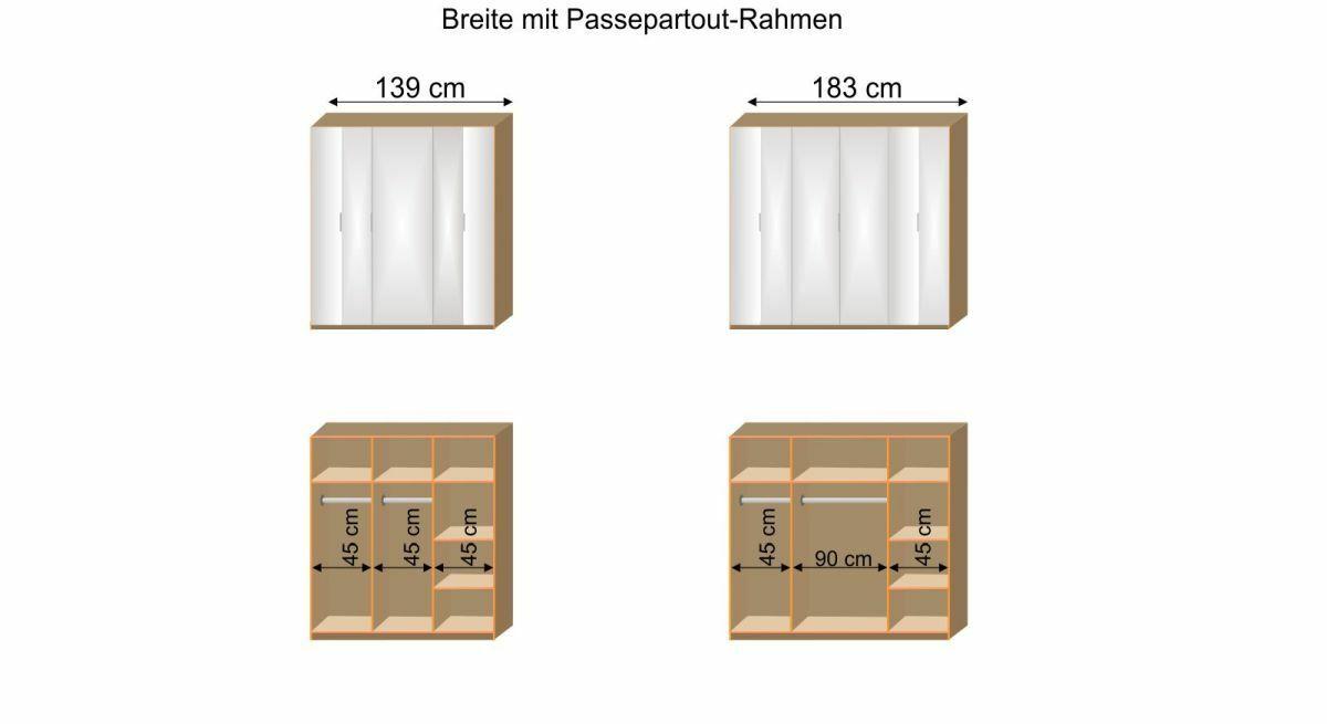 Grafik zur Inneneinteilung des Falttüren-Kleiderschranks Galena