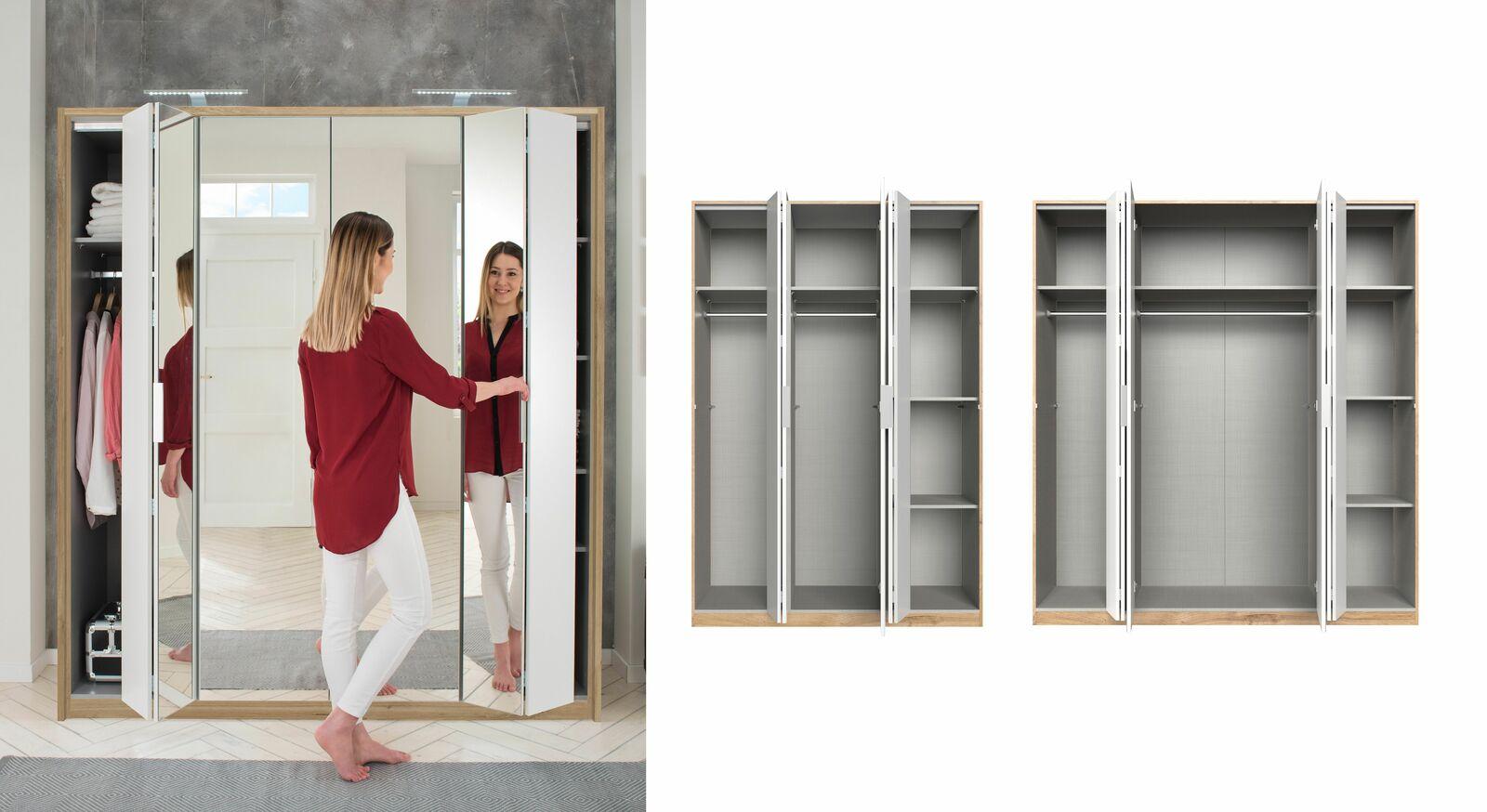 Falttüren-Kleiderschrank Galena mit durchdachter Inneneinteilung