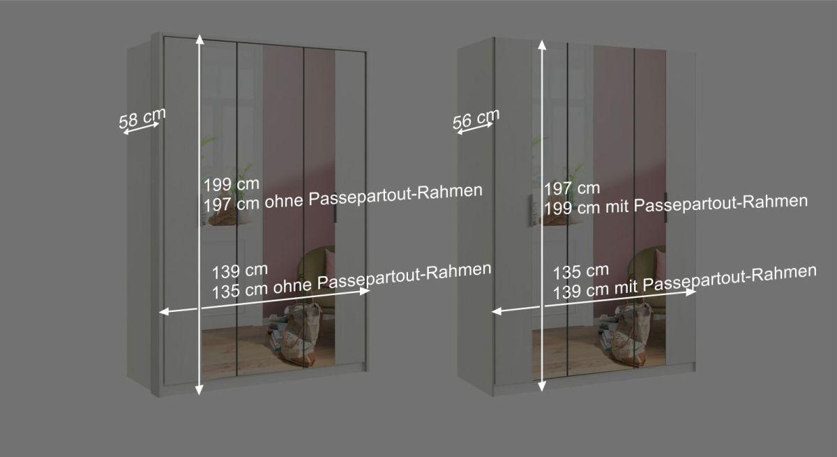 Bemaßungsgrafik zum 3-türigen Falttüren-Kleiderschrank Hailey