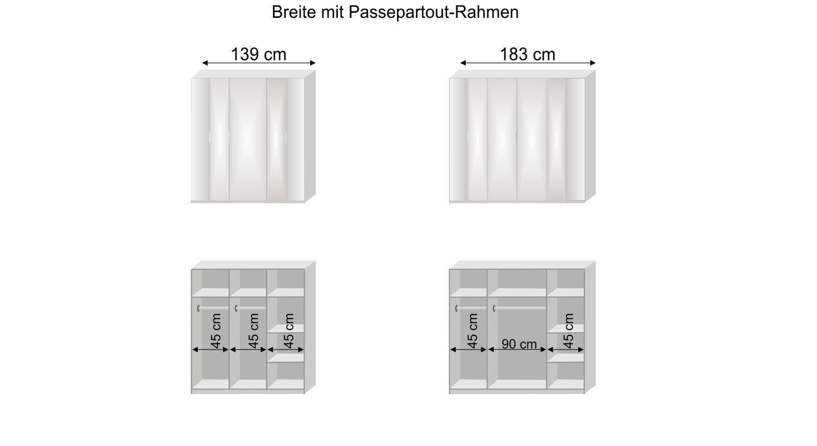 Grafik zur Inneneinteilung des Falttüren-Kleiderschranks Hailey
