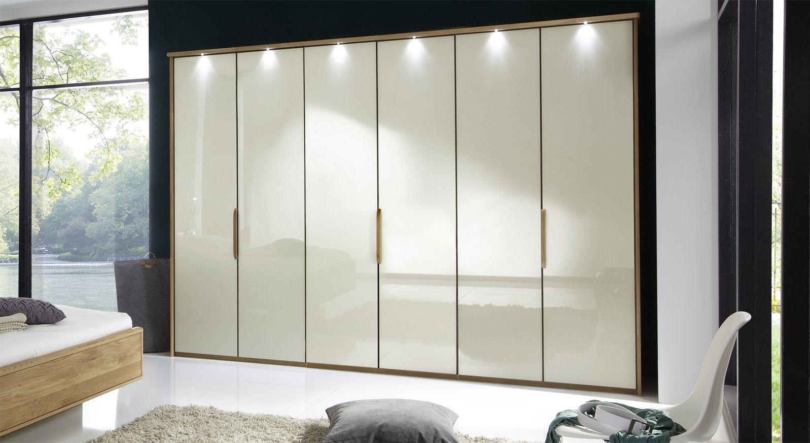Falttüren-Kleiderschrank Morley in Magnolie mit Passepartout-Rahmen mit Beleuchtung