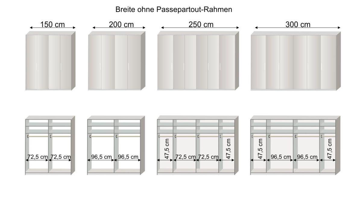 Grafik zur Inneneinteilung des Falttüren-Kleiderschranks Westville mit 150-300 cm Breite
