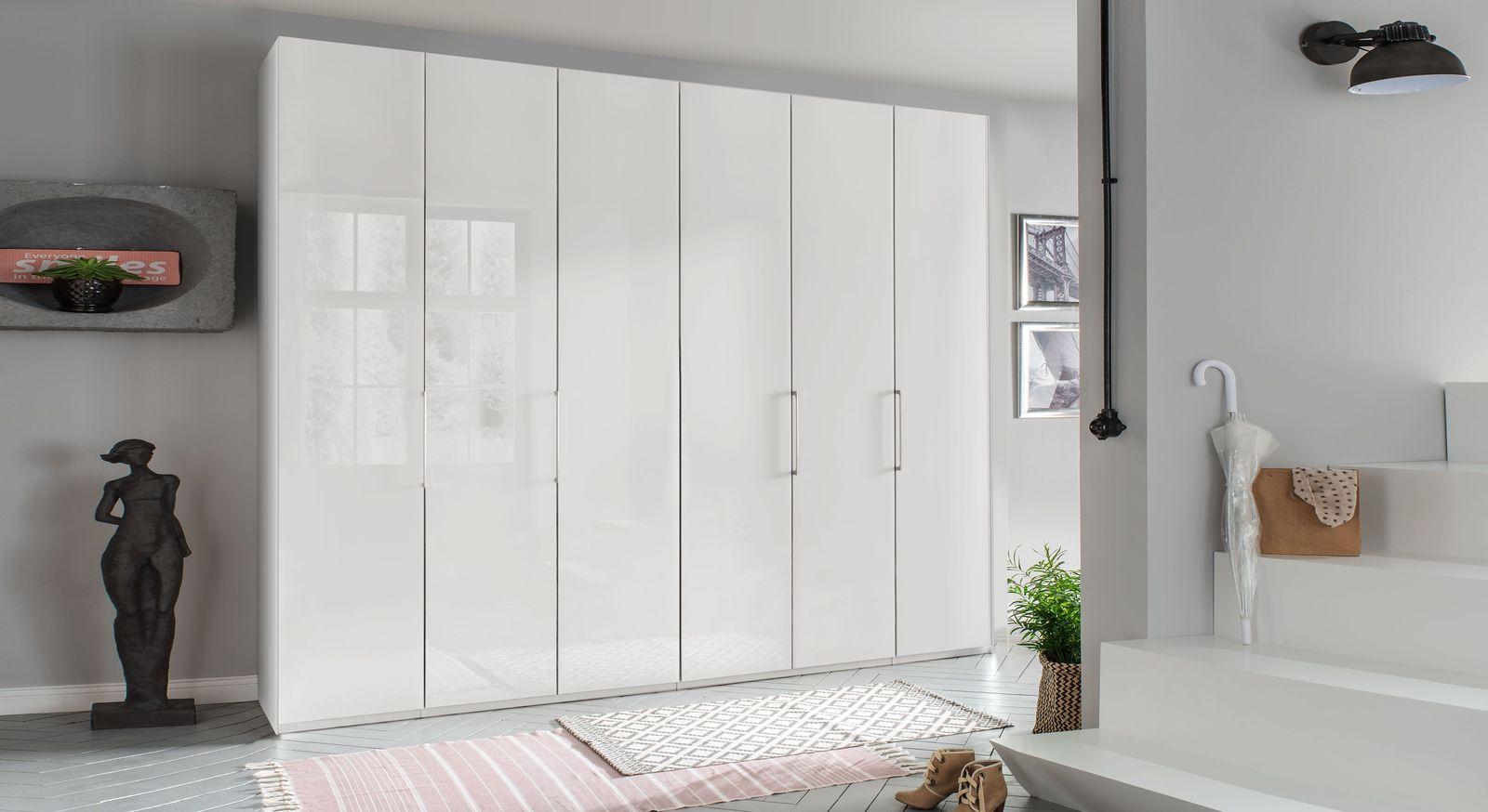 Falttüren-Kleiderschrank Westville mit alpinweißer Glasfront