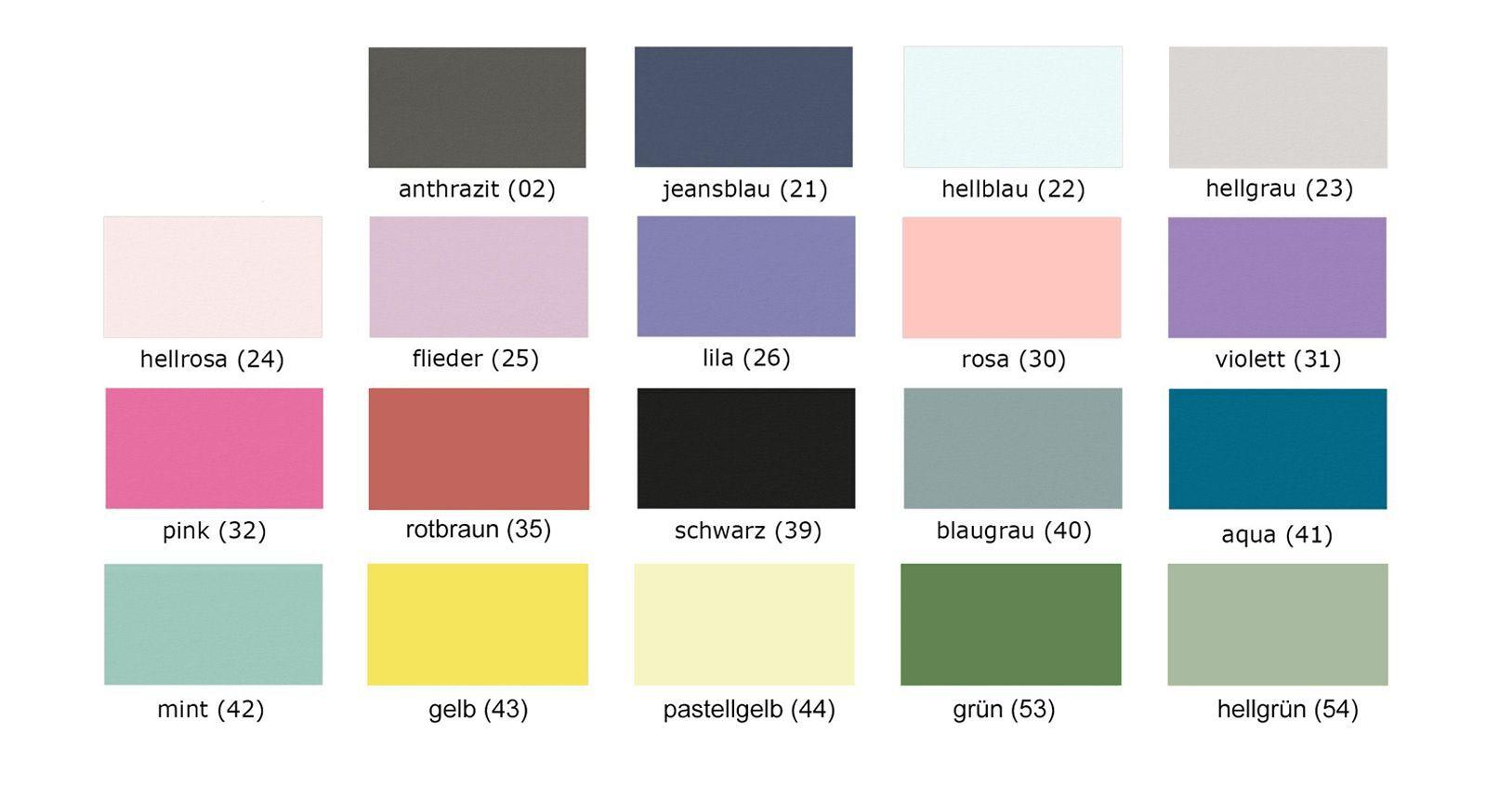 Farbpalette der verschiedenen Farben für Kindemöbel
