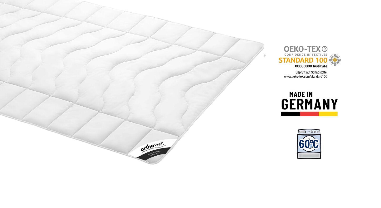 Zertifizierte Faser-Bettdecke orthowell Standard extra leicht