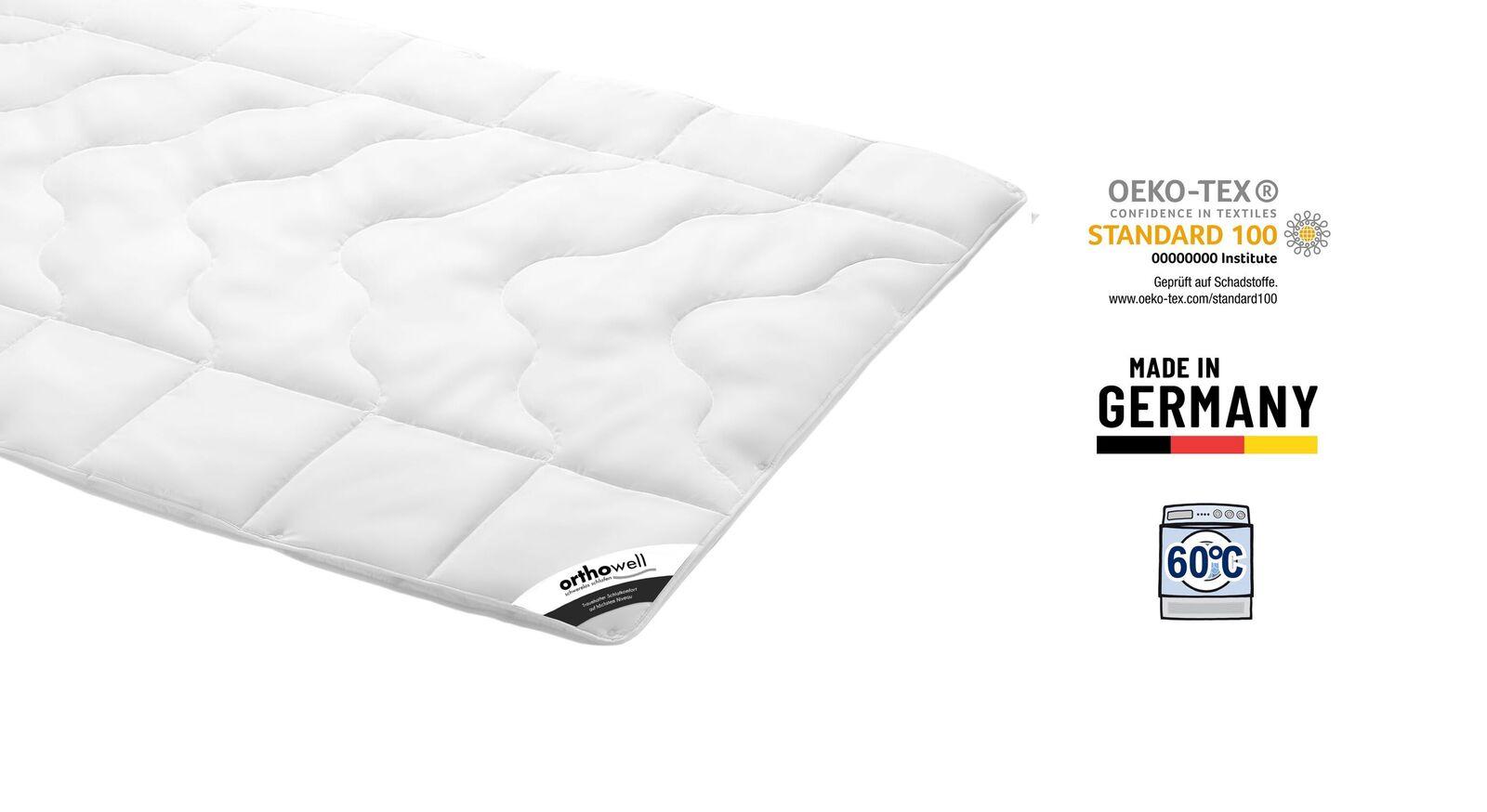 Zertifizierte Faser-Bettdecke orthowell Standard extra warm