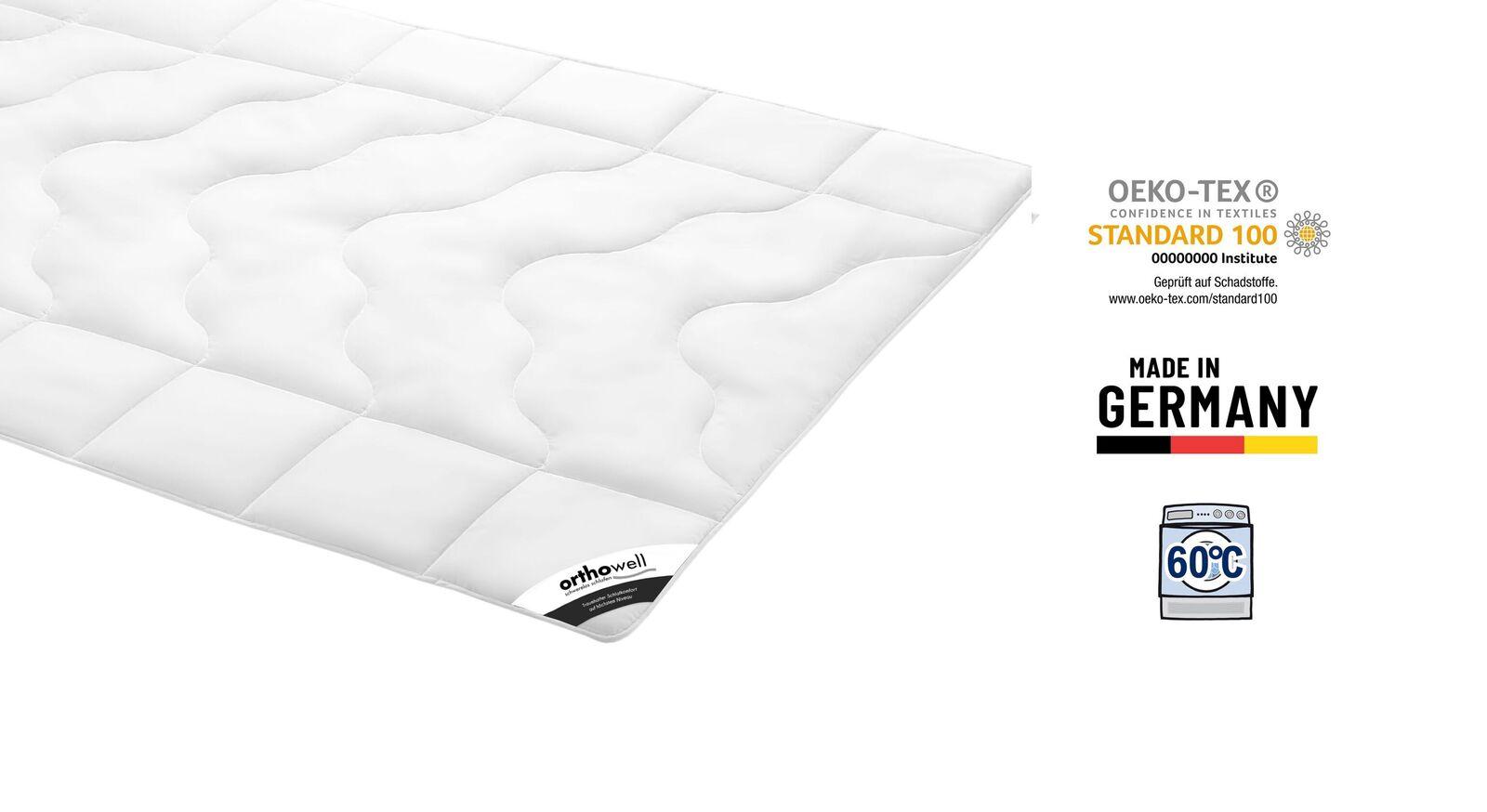 Zertifizierte Faser-Bettdecke orthowell Standard medium