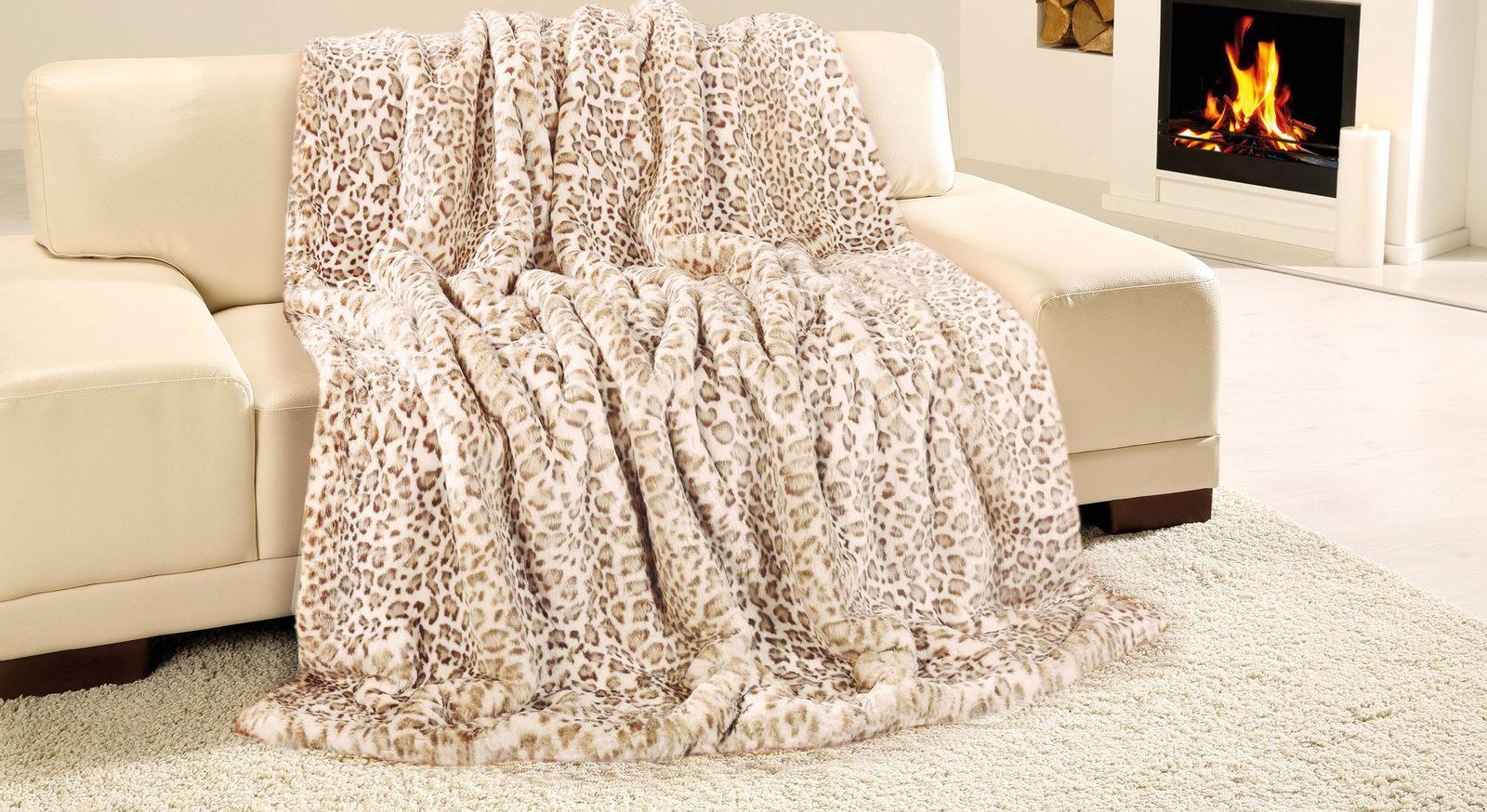 Robuste Felldecke Gepard aus synthetischer Faser