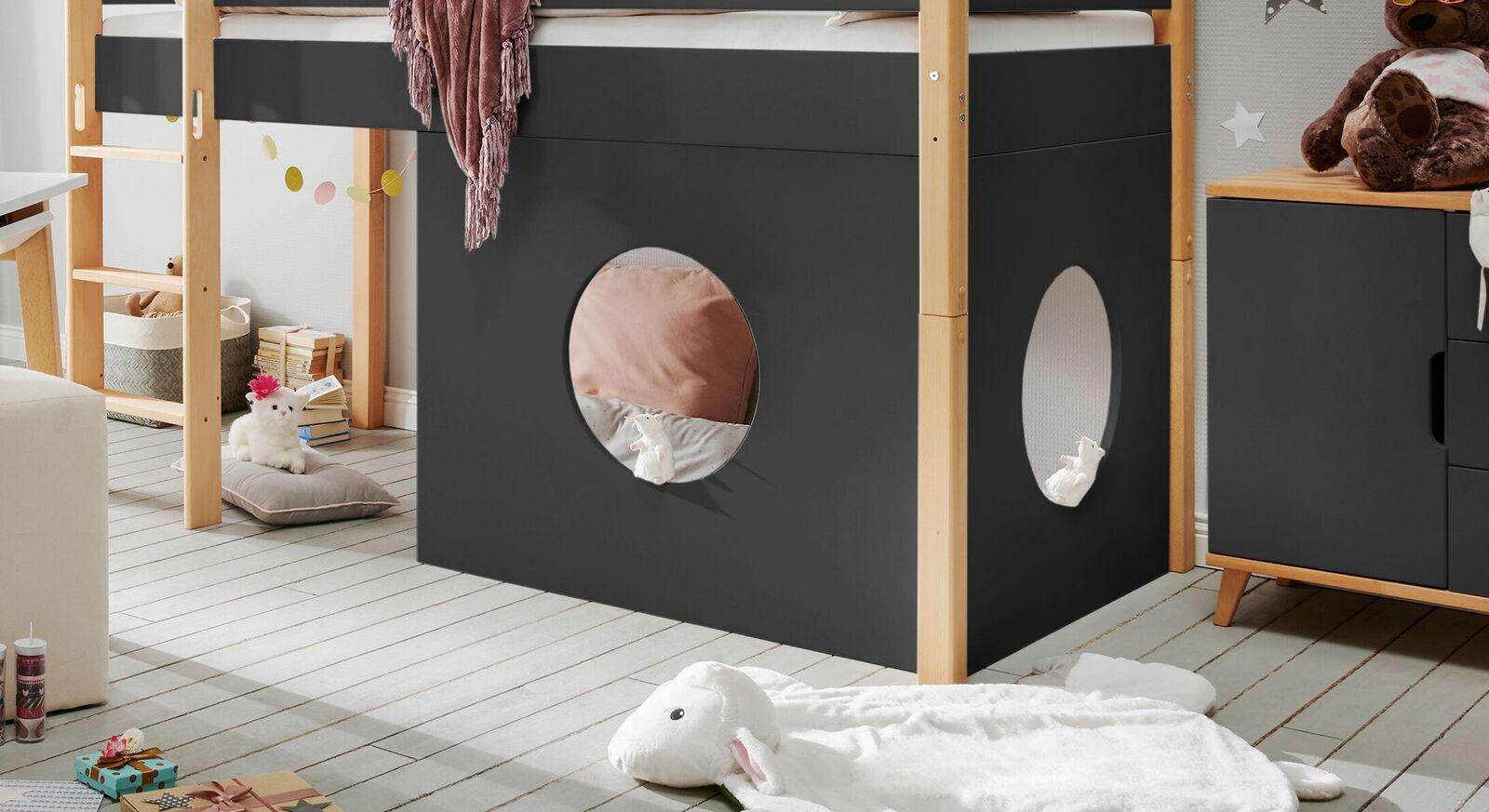 Fensterelement Kids Nordic als Zusatzausstattung für Mini-Hochbetten in Anthrazit