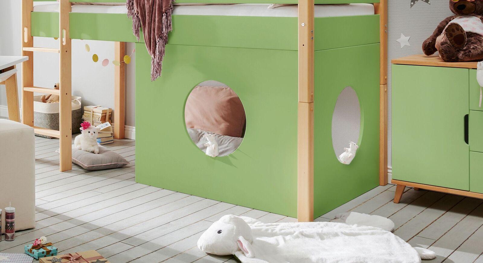 Fensterelement Kids Nordic als Zusatzausstattung für Mini-Hochbetten in Grün
