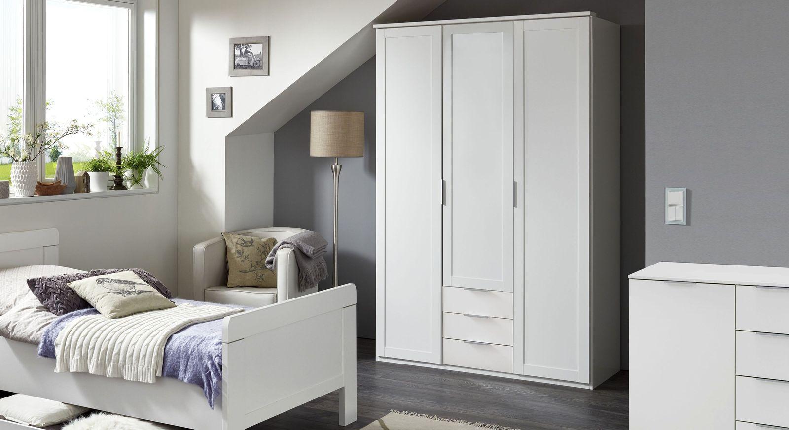 3 t riger kleiderschrank wei mit schubladen und spiegel aradeo. Black Bedroom Furniture Sets. Home Design Ideas