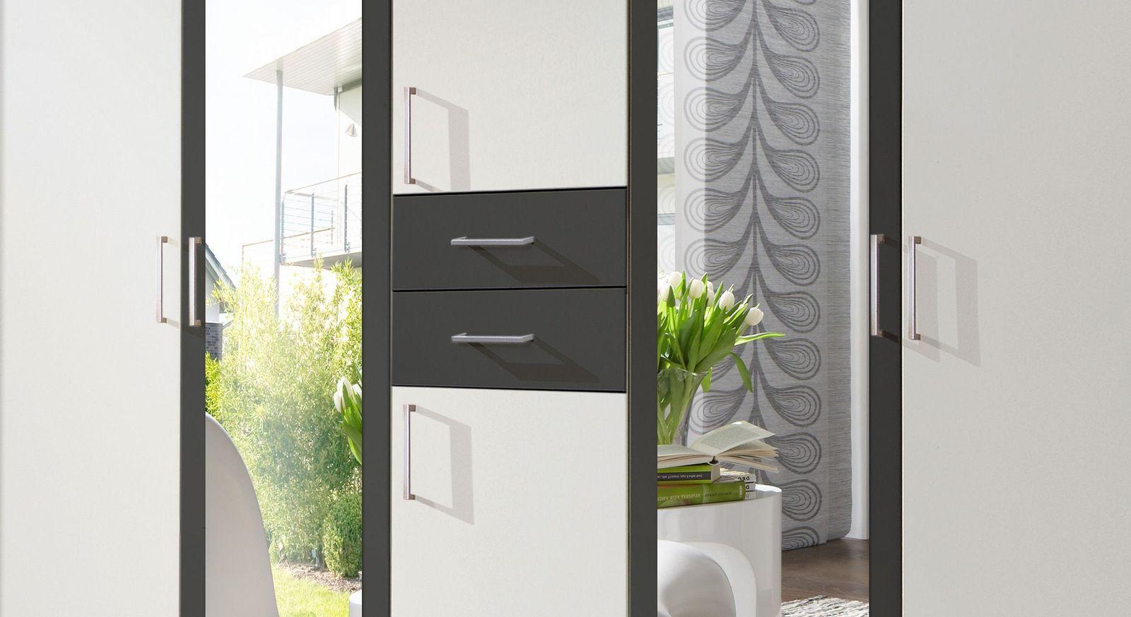Funktions-Kleiderschrank Belcastro mit zwei Schubladen in Anthrazit