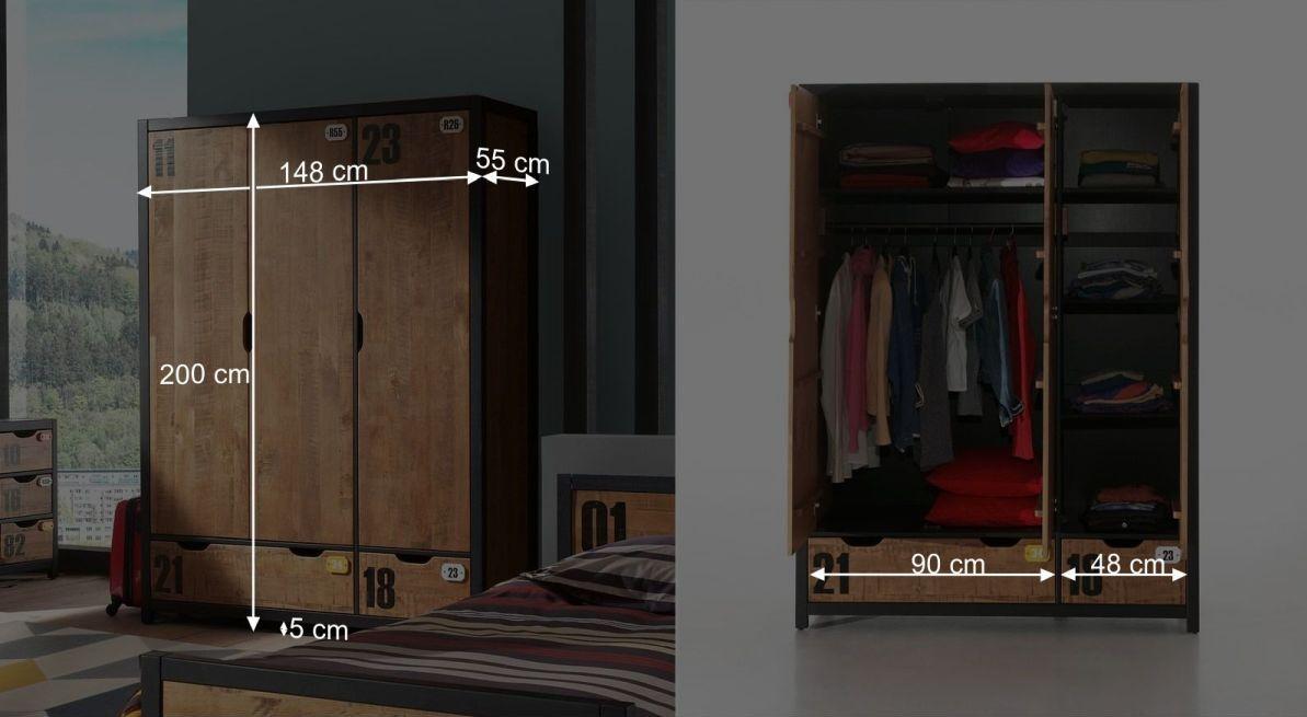 Bemaßungsskizze zum Funktions Kleiderschrank Beli dreitürig