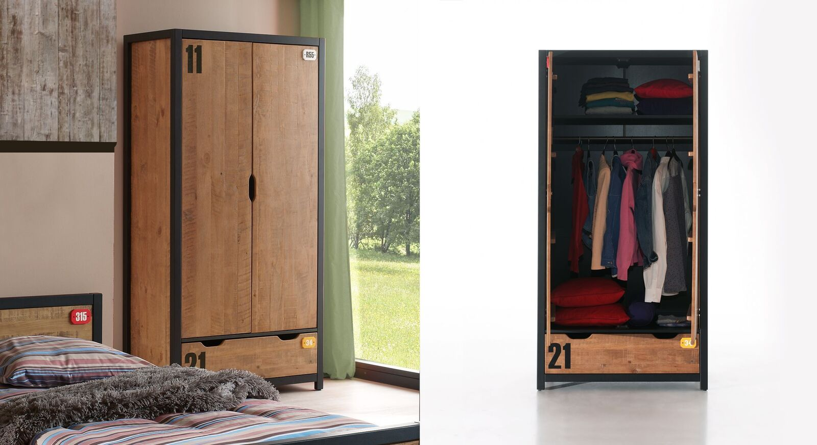 Preiswerter zweitüriger Funktions-Kleiderschrank Beli