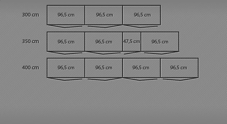 Grafik zur Breitenansicht des Funktions-Kleiderschrank Tiko