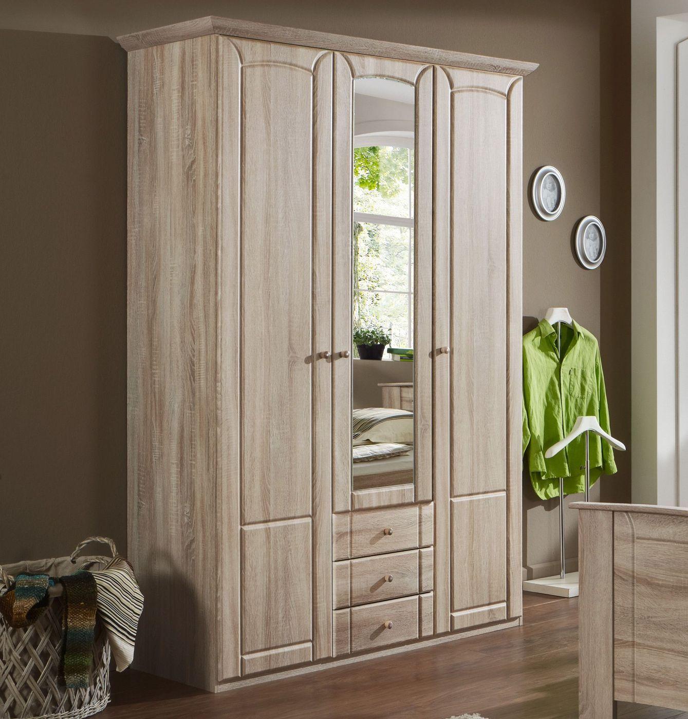 Funktions kleiderschrank mit spiegel und schubladen carpina for Spiegel preiswert