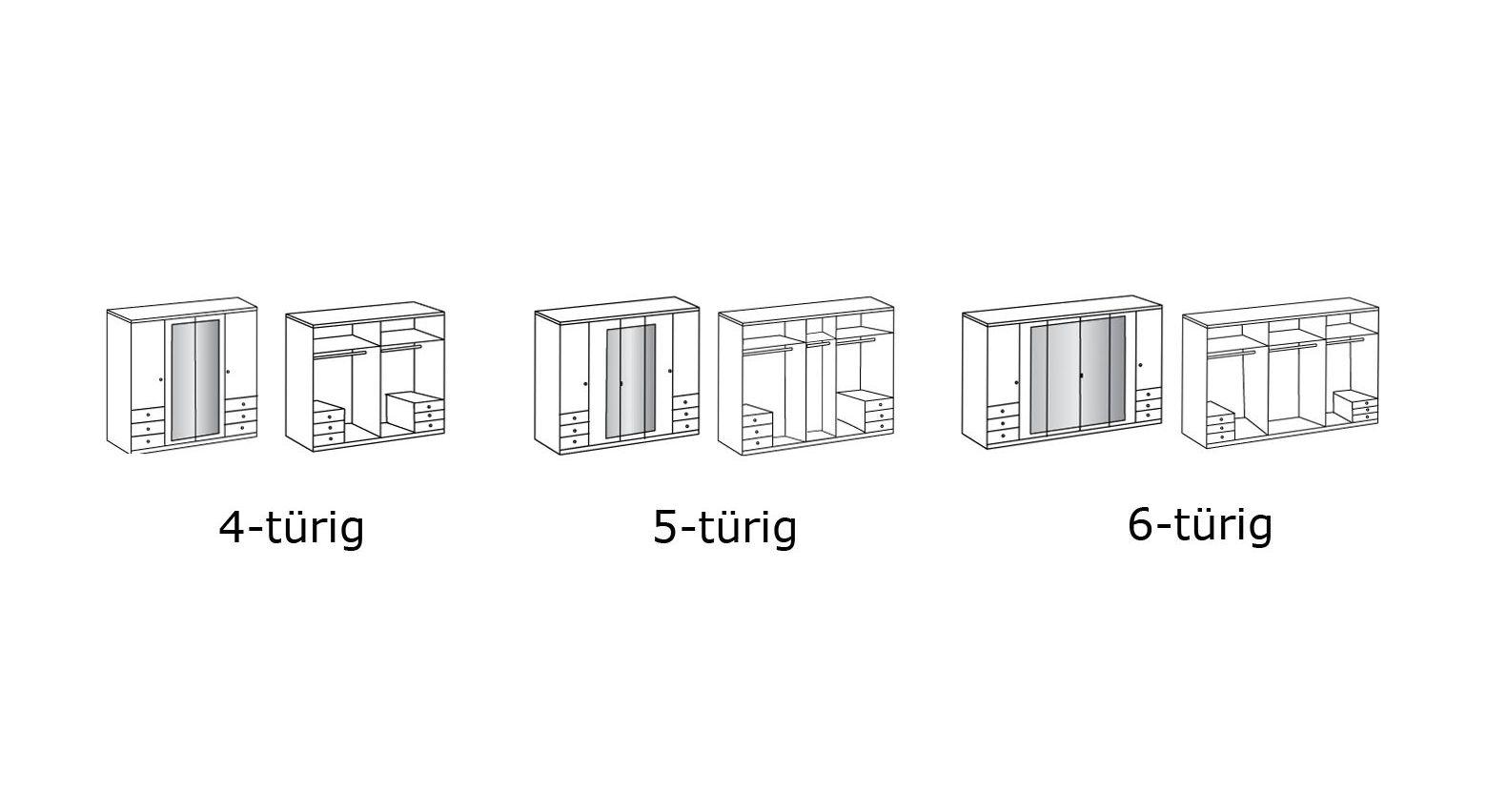 Grafik zur Innenaufteilung des Funktions-Kleiderschranks Corvara