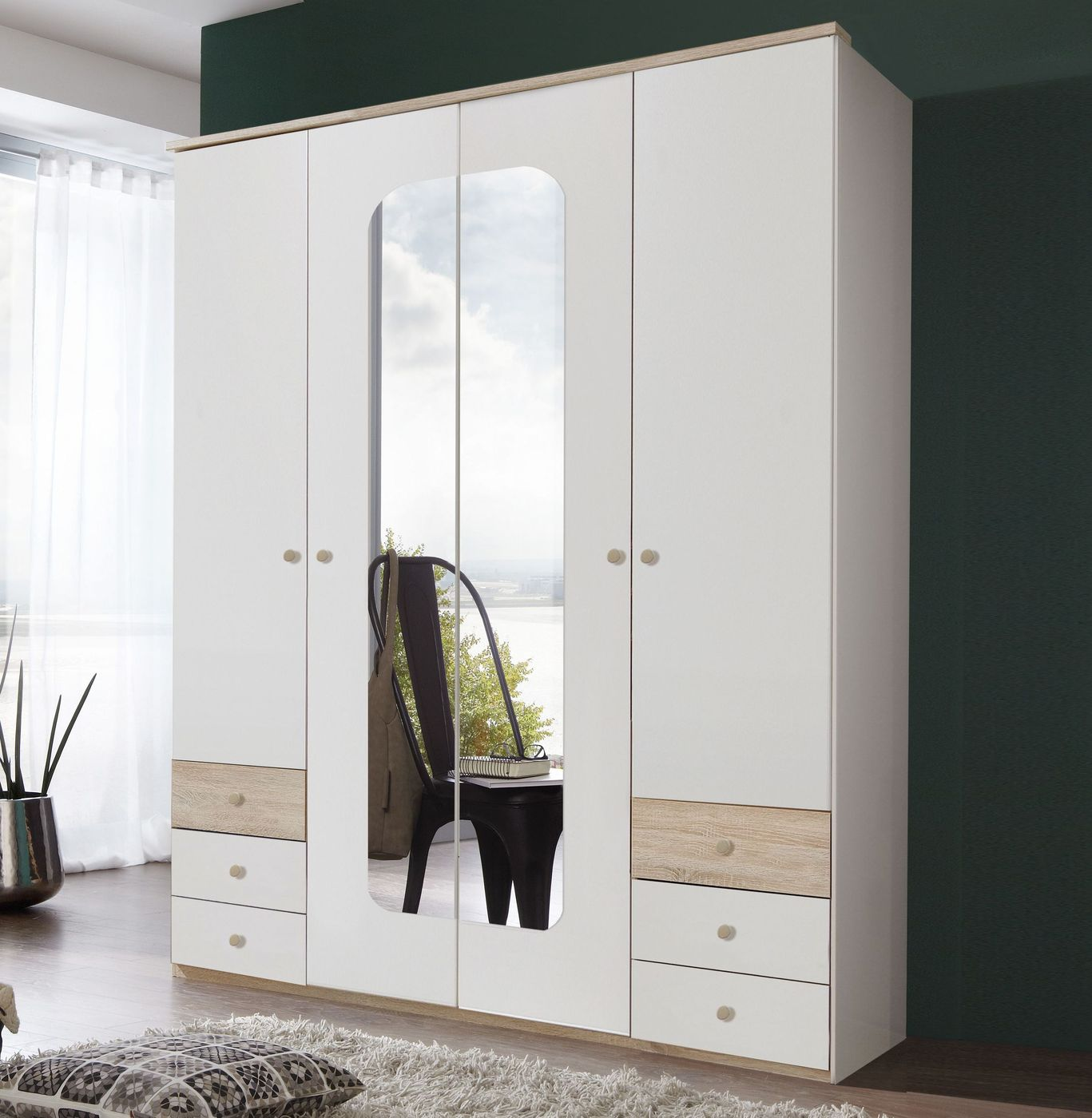wei er schrank im retrolook mit spiegel und schubladen corvara. Black Bedroom Furniture Sets. Home Design Ideas