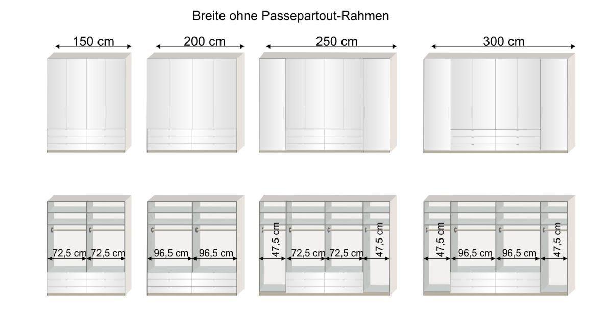 Grafik zur Inneneinteilung des 150 bis 300 cm breiten Funktions-Kleiderschranks Elmira