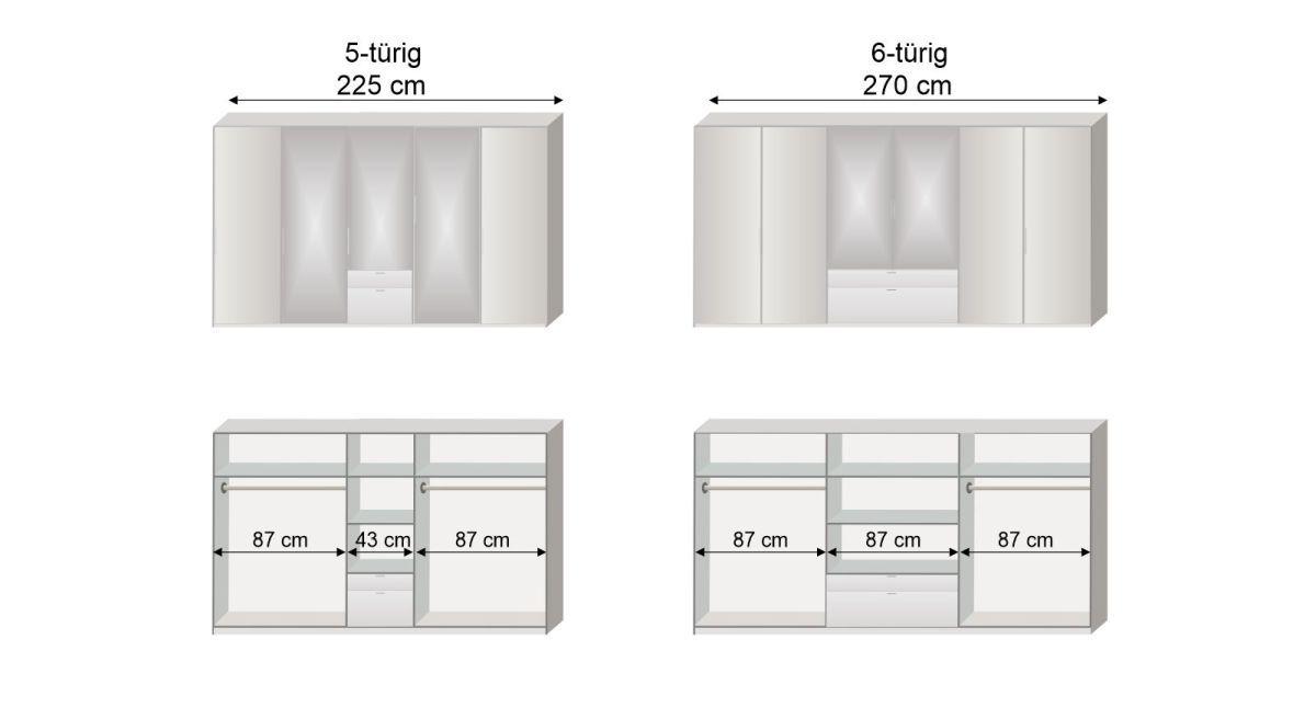 Grafik zur Inneneinteilung des 5- und 6-türigen Funktions-Kleiderschranks Esperia mit Spiegel