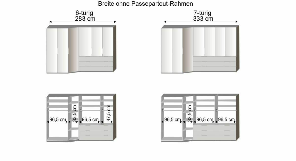 Grafik zur Innenausstattung des 6-7-türigen Funktions-Kleiderschranks Evansville