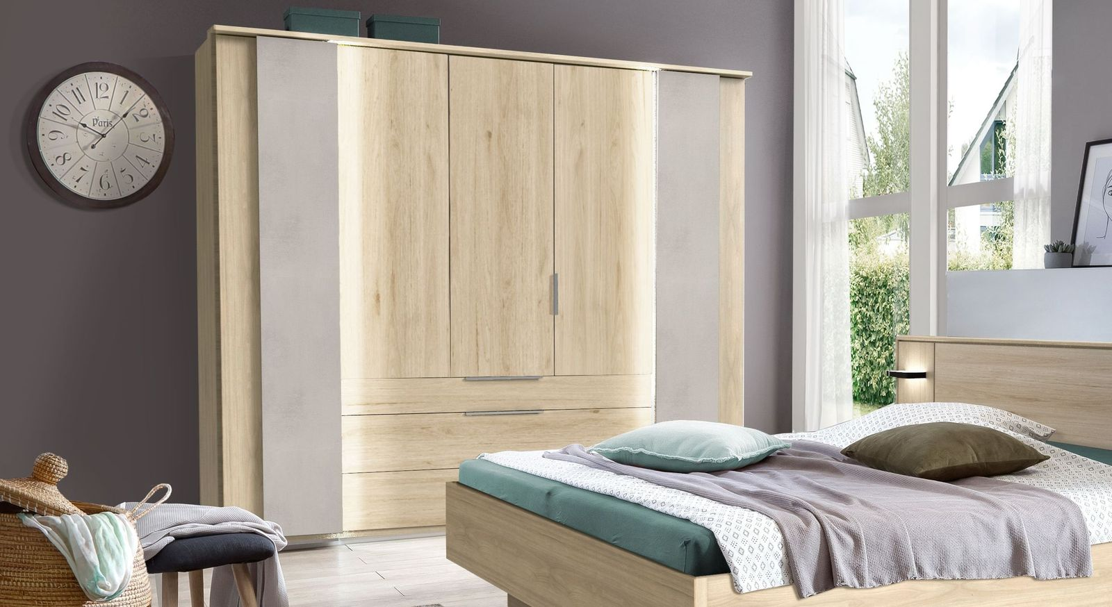 Funktions-Kleiderschrank Hayward in Hickory-Oak Dekor