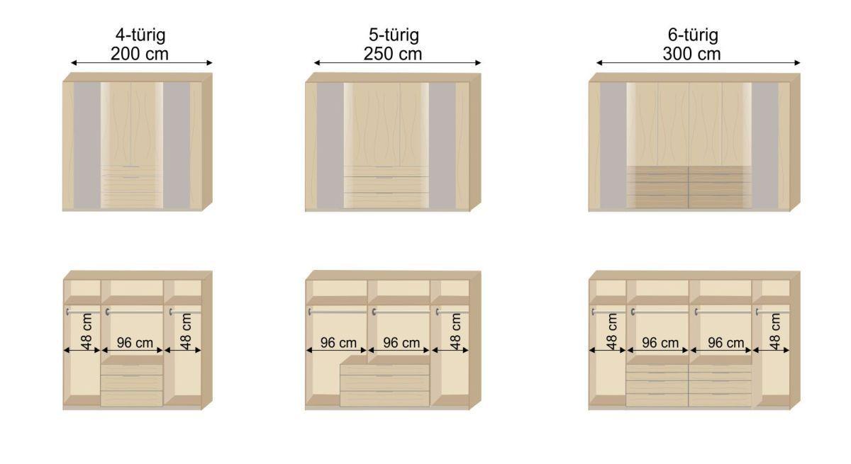 Grafik der Inneneinteilung des Funktions-Kleiderschranks Hayward