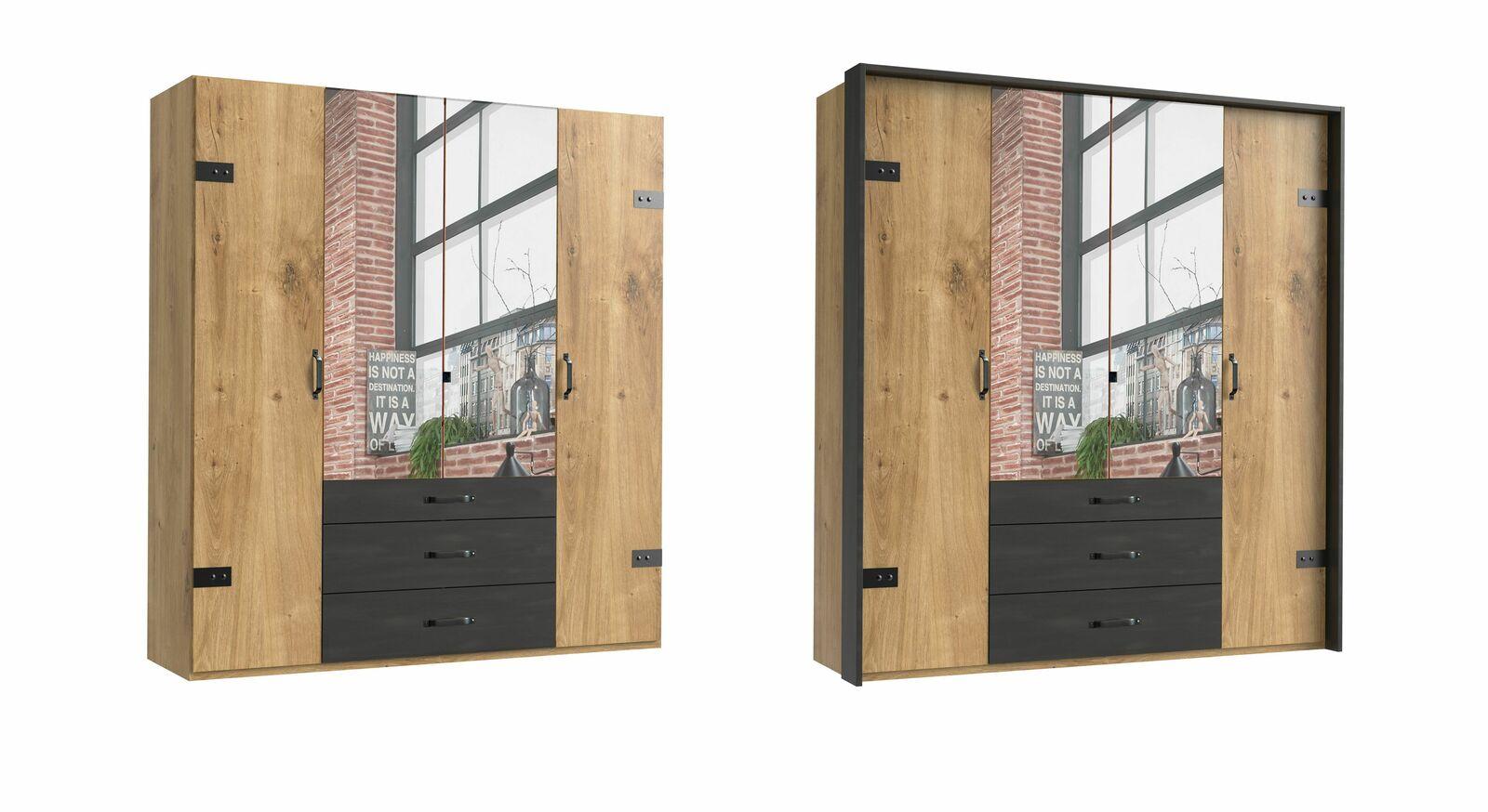 4-türiger Funktions-Kleiderschrank Mancos mit Spiegel