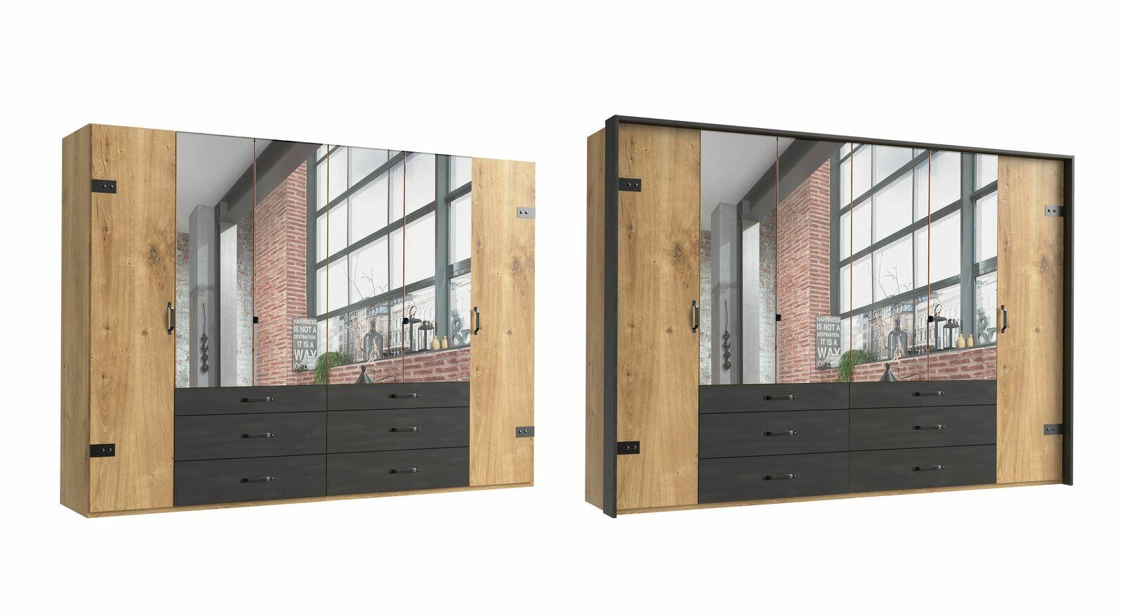 6-türiger Funktions-Kleiderschrank Mancos mit Spiegel
